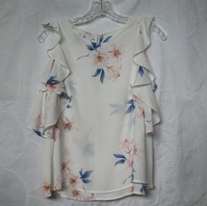 Lush floral top, ruffled shoulders, size small